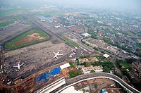aerial view of chhatrapati shivaji international airport , Sahar , Bombay Mumbai , Maharashtra , India