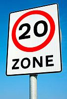 British 20 miles an hour limit zone sign.