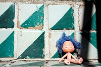 Abandoned Doll Lying in Green floor