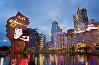 Bank of China Building and Grand Lisboa Hotel-Casino, as seen from the fountain of main entry to Wynn hotel & casino,Macau,China