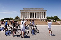 Bicycle tourists visit the Lincoln Memorial in Washington, D.C.