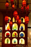 Stand with colorful glass handcraft in store, Las Vegas, Nevada, USA