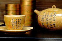 Asian teapot and cups