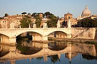 Europe, Italy, Rome, Vittorio Emanuele II Bridge, Vatican, St. Peter's, Saint Peter's, Tiber River, River, Bridge, Tourism, Holiday, Vacation