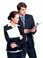 Portrait of happy business man and business woman working together against white background
