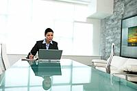 Businesswoman with Laptop Computer Sitting at Conference Table