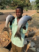 young man with two freshly caught fishes near lake Tanganijka, Burundi, Rumonge, Bujumbura