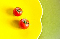 Cherry Tomatos on Yellow Plate