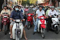 Rush Hour Moped Commuters Crowding Street, Saigon, Vietnam.