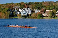Recreational rowing on Lake Banook, Dartmouth, Nova Scotia, Canada.