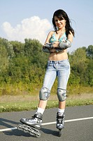 young woman with roller blades