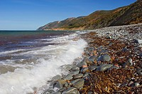 Corney Brook and Atlantic Ocean shoreline, autumn, Cape Breton Highlands National Park, Nova Scotia, Canada.