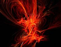 Red flame storm in dark space