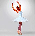 Full length of a pretty young ballerina performing against white background _ copyspace