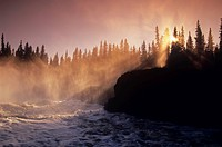 Foggy morning on the grass river in northern, Manitoba, Canada.