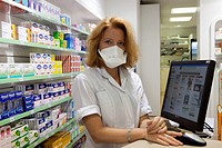 Photo essay in a chemist´s shop. Prevention of influenza A H1N1.