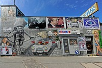 part of the so called ´East Side Gallery´ a part of Berlin Wall painted after the reunification, Germany, Berlin