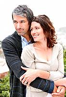 Portrait of an attractive mature couple embracing eachother _ Outdoor