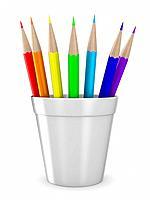 Set pencils on white background. Isolated 3D image
