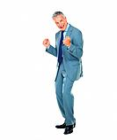 Full length of enthusiastic business man celebrating success over white background
