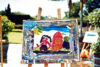 Child´s painting on easel