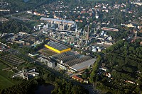 administrative centre of GEA in Bochum and new building furnitures discounter, Herne_Eickel in the background, Germany, North Rhine_Westphalia, Ruhr A...