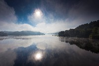 morning mist at lake Bleiloch, Germany, Saxony, Bleiloch_Talsperre