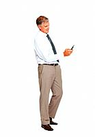Full length of mature business man busy texting from his cell phone over white background