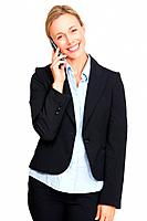 Portrait of business woman with mobile phone on white background