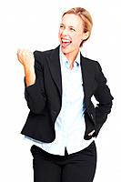 Portrait of successful executive very excited woman on white background