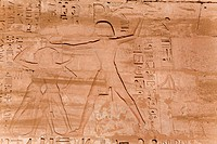 mural relief in the mortuary temple of Ramses III. in Medinat Habu, Egypt, Theben_West, Luxor