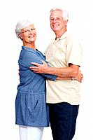 Portrait of a casual mature couple hugging and smiling isolated over white background