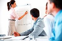 Female executive drawing business growth chart on whiteboard during presentation