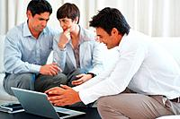 Consultant explaining investment plans to business couple using laptop