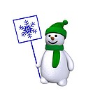 computer grafic of a smiling snowman holding up a dsign with a snowflake on it