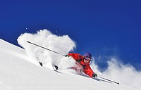 skier off_piste skiing, France, Savoie, Tarentaise, La Plagne
