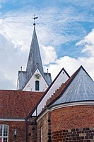 Steeple of the church of St  Jacobi in Varde, Jutland, Denmark