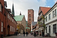 Old Town with Ribe Cathedral and shopping street, Jutland, Denmark