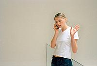 Frustrated Woman Using Cell Phone