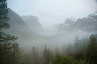 fog in Yosemite Valley with El Capitan and Bridal Veil Falls, USA, California, Yosemite National Park