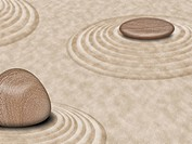 Zen Stones on Sand Garden Circles 2