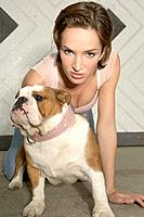 Woman with English Bulldog