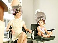 Young Woman and Girl in Beauty Salon