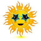abstract sun wearing goggles
