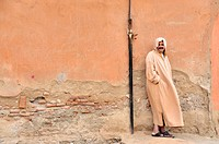 man wearing traditonal djellabah, Morocco, Marrakesh