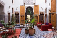 patio of La cle de Fes Riad, medina, Morocco, North Africa