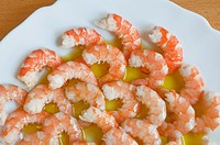 Shelled prawns with olive oil. Spain.