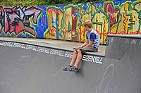 nine year old boy in a halfpipe, Germany, Cologne