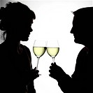 Silhouette portrait of a young couple enjoying a glass of white wine