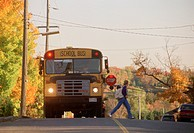 School Bus Dropping Off Teenaged Girl